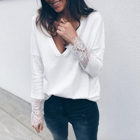 V Neck Long Sleeve Lace Patchwork Elegant T-Shirts