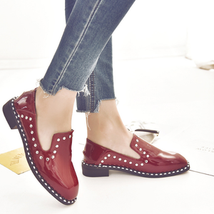 Plain Square Toe Rivets Casual Artificial PU Flat & Loafers