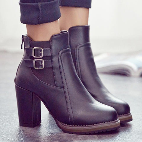 Plain Round Toe Office High Heeled  Boots