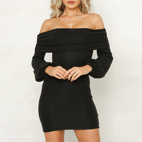 Sexy Solid Color Long Sleeve Knit Sweater Dress