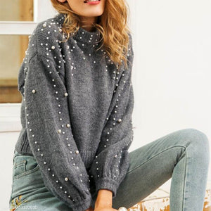 Round Neck Pullover Loose Pearl Sweater