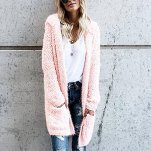 Mid-Length Knit Cardigan Solid Color Plush Coat Outwear