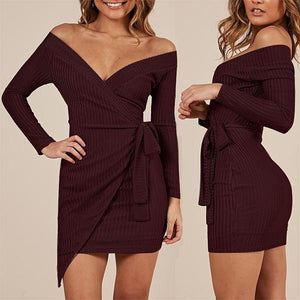 Solid Color Sexy V-Neck Dress