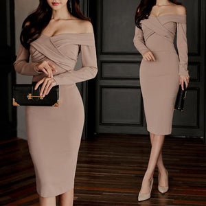 Sexy One-Shoulder Long-Sleeved  Dress