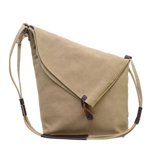 Women Vintage Genuine Leather Canvas Crossbody Bag