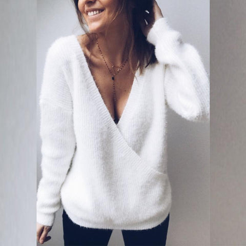 V Neck Two Ways Long Sleeve Knitting Sweaters