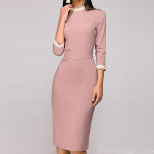 OL Style Long Sleeve Bodycon Dress
