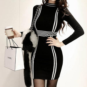 Slim-Fit  Striped Fashion Bodycon Dress