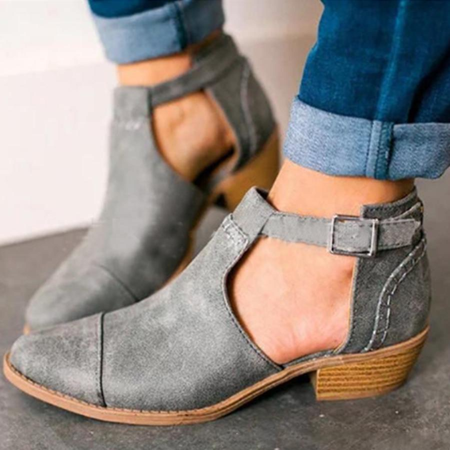 Plain Chunky Velvet  Round Toe  Casual Outdoor Ankle Boots