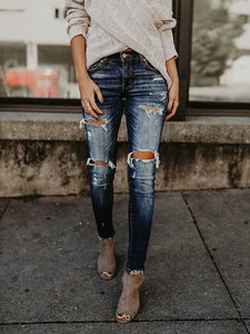 Slim Fit Ripped Pencil Denim Jeans Pants