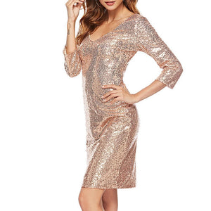 New Sexy Deep V-Neck Sequins Bodycon Dress