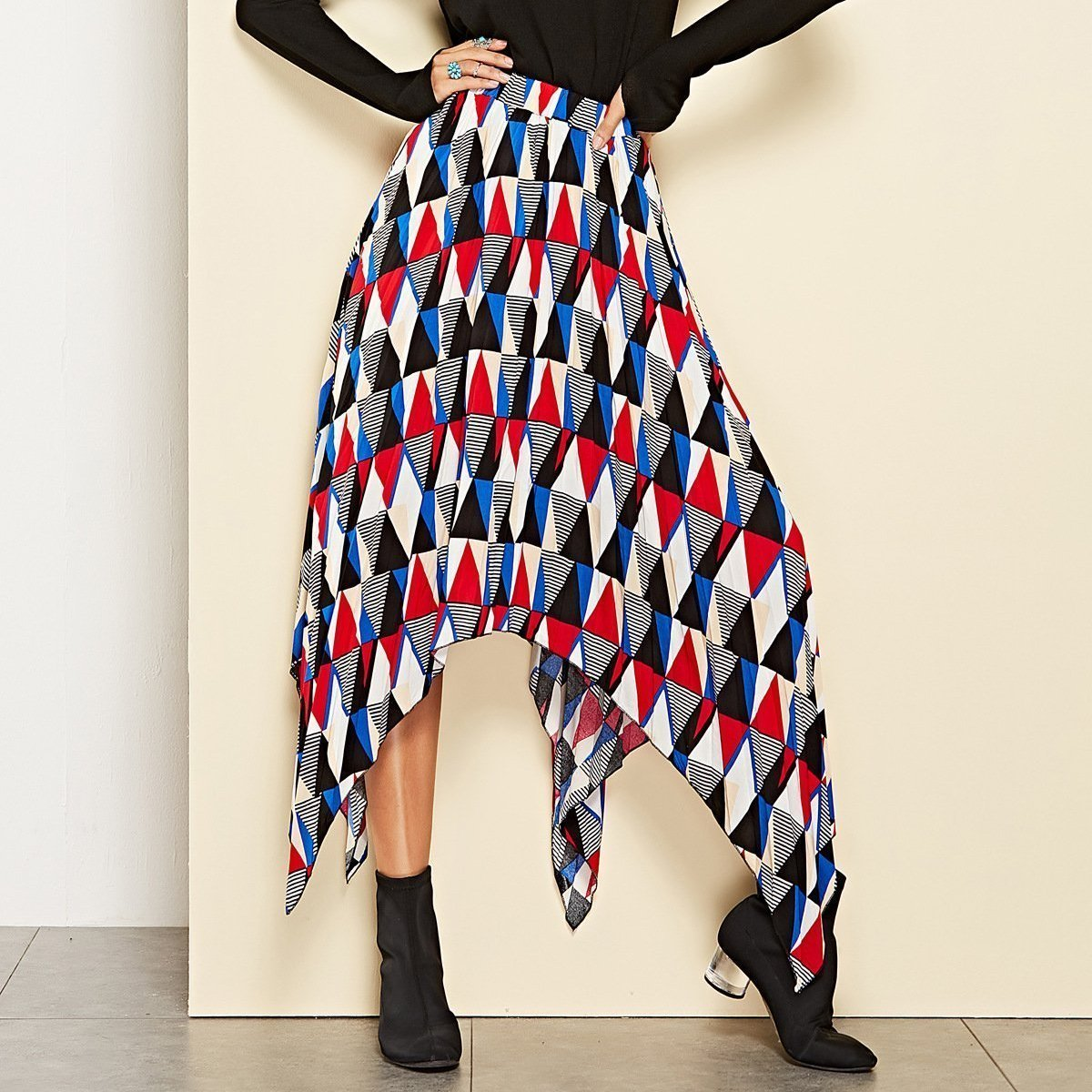 Stylish Rubber Geometric Pattern Irregular Skirt