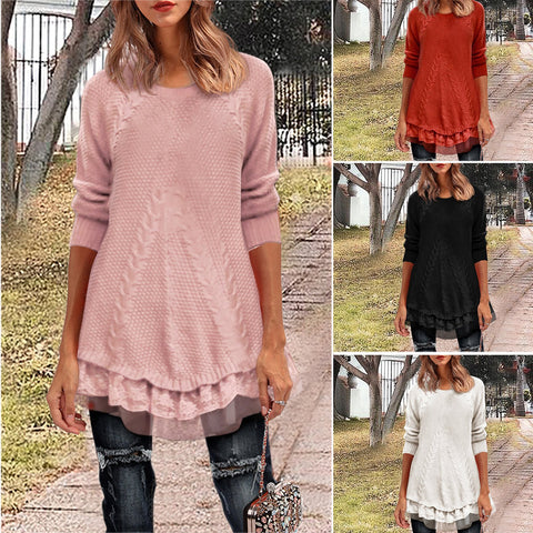 O-Neck Lace Pullover Knitted Casual Sweater