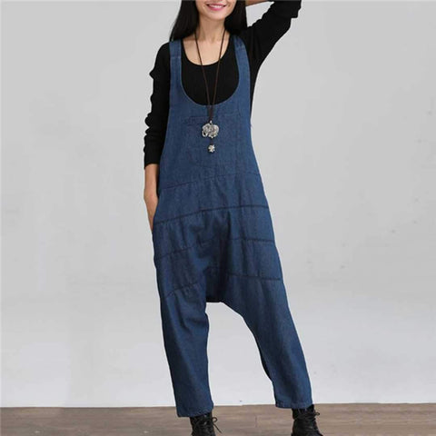Nifty Casual Fashion Loose Plain Sleeveless Overall Denim Jumpsuit