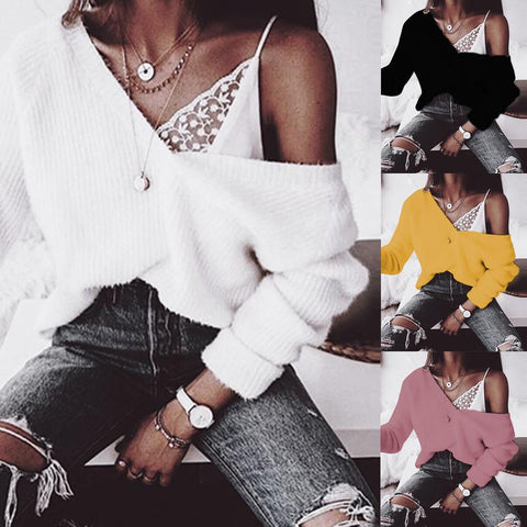 New Thick Loose V-Neck Pullover Sweater