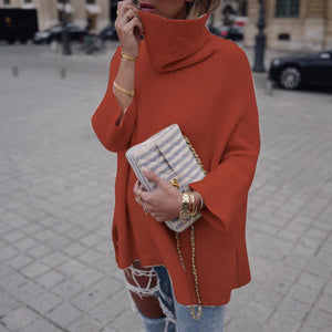 Solid Color High Neck Loose Sweater