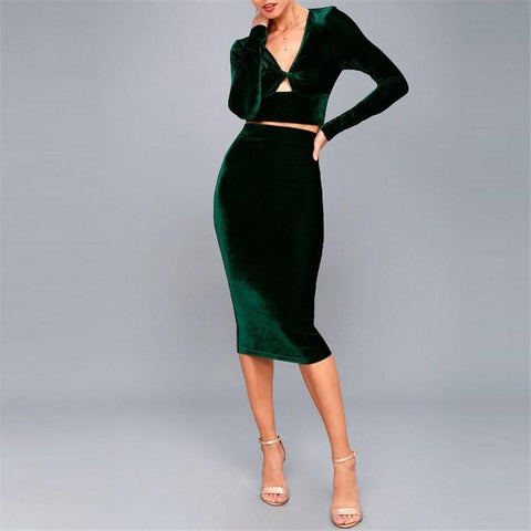 Sexy Deep V - Neck  Swivel-Wrap Bodycon Dresses
