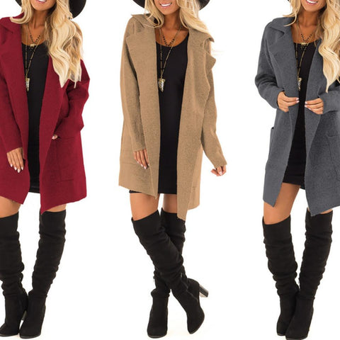 Autumn/Winter Fashion Lapel Woolen Women Coat