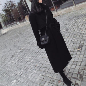 New Lace-Up Loose Woolen Long Coat