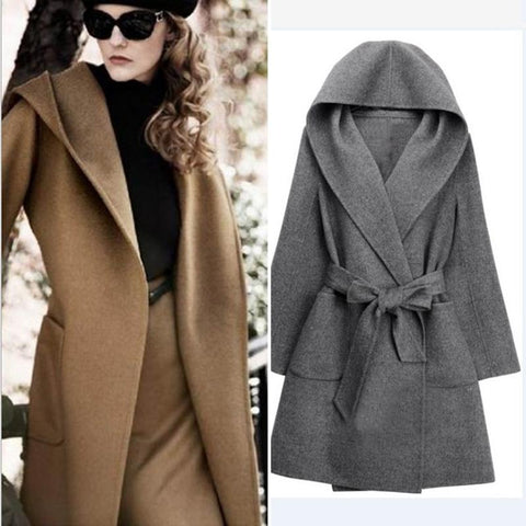 Woolen V-Neck Coat Warm Hooded Outerwear