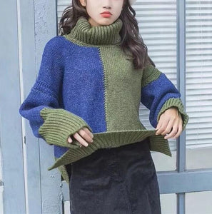 Warm Color Matching Loose High Neck Knitted Sweaters
