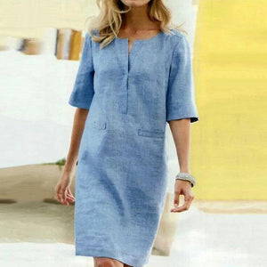 Women's Classic Casual Loose Half Sleeve Linen Midi Dress