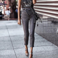 High Waist Button Jeans Pants