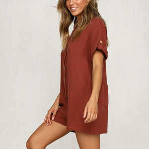 Summer Casual Loose Button Romper