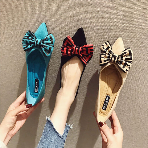 Flat Bottom Pointed Bow Bow Shallow Mouth Casual Shoes