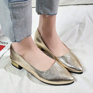 Plain  Chunky  Low Heeled  Point Toe  Date Office Comfort Flats