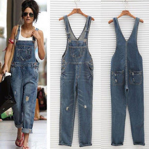 New Stylish Denim Overalls Scratched Washed Ripped Hole Jumpsuits