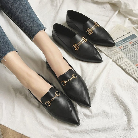 Vintage Elegant Pointed Head Leather Flat Shoes