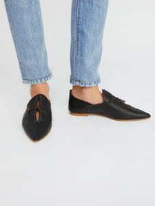Women Vintage Slip On Loafers Low Heel PU Leather Loafers