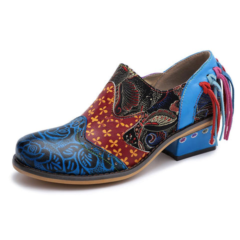 Stitching   Hand-Painted Leather Casual Shoes