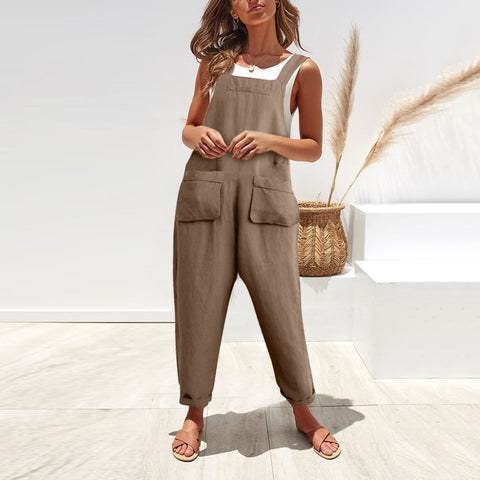 Female sleeveless casual retro loose radish Jumpsuit