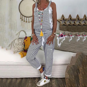 Female Large Size Loose Striped Band Strap Jumpsuit
