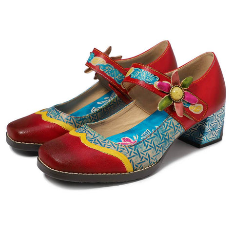 Vintage Printed   Handmade Square Head Casual Shoes