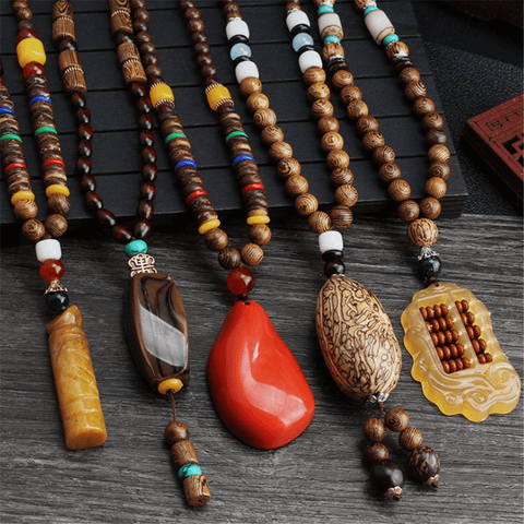 Ethnic Style Vintage   Wooden Beads Agate Long Necklace