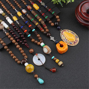 Vintage Casual Ethnic Agate Wooden Long Necklace