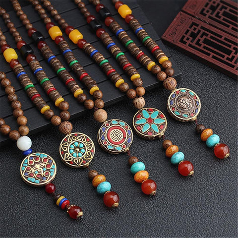 Ethnic Style Vintage Handmade Pendant Wooden Beads Necklace