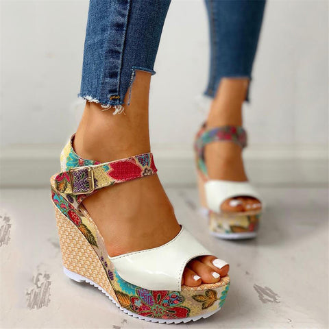 Fashion Casual Floral Wedge   Sandals