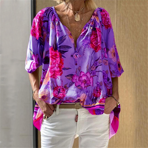 Women's Casual Print V-Neck Shirt