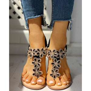 Women's toe flower flat sandals