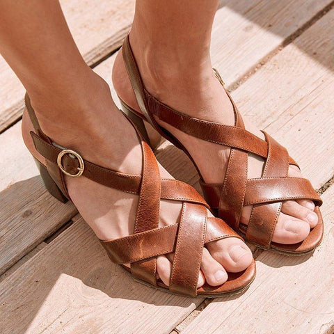 Summer Comfortable Thick Heel Open Toe Buckle Casual Ladies Sandals