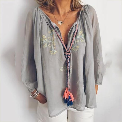 Casual V Neck Printed Long Sleeve Shirt