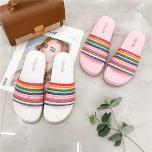 One-Line Flat-Bottom Beach Casual Slippers
