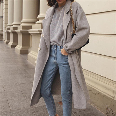 Elegant Stylish Versatile Collar Double-Breasted Long-Sleeved Coats