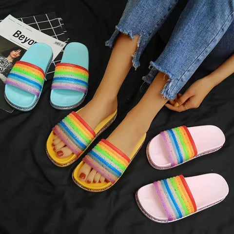 Wear A Stylish Rainbow Stripe Shiny Word Non-Slip Beach Sandals And Slippers