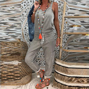 Women's Casual Sleeveless Elastic Pure Color Loose Jumpsuit