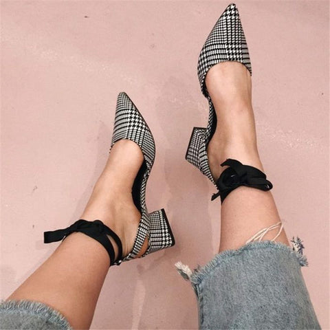 Pointed Check Versatile Thick Heel Straps Shoes